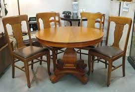 Pedestal Oak Table And Chairs Found In Ithaca Antique Tilt Top Pedestal Table Sold U0026 Four