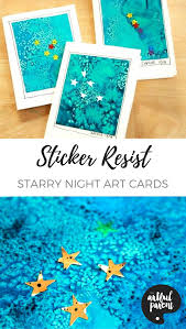 Gorgeous Sticker Resist Starry Night Art Cards For Holidays Or Gifts