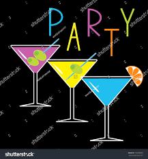 set three glasses different cocktails black stock vector 158388998