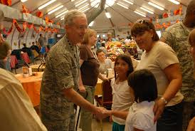 history on thanksgiving file gen fraser greets family members on thanksgiving at jtf