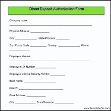 sample direct deposit authorization form download templatezet