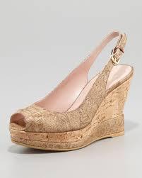 stuart weitzman jean metallic suede cork slingback wedge sandal in