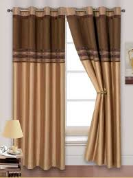 Brown Gold Curtains Stylish 2 Tone Chenille Faux Silk Ringtop Eyelets Lined Curtains