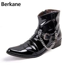 motorcycle footwear mens black patent pu leather chain men boots mens glossy shoes male