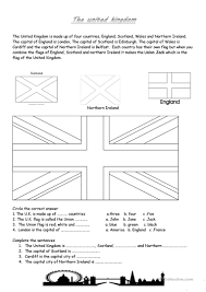 What Country Has Red White And Green Flag The United Kingdom Worksheet Free Esl Printable Worksheets Made