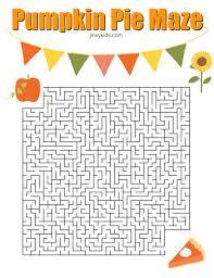 printable pumpkin pie maze for thanksgiving jinxy