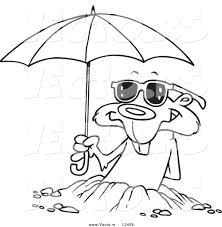 vector cartoon groundhog emerging shades umbrella