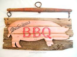 make your own hanging l make your own vintage pork bbq sign with upcycled yoke sign