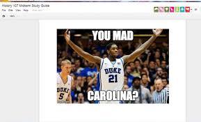 Unc Basketball Meme - duke fan replaces unc class midterm study guide with blue devils