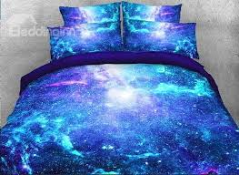 Galaxy Bed Set Onlwe 3d Space Galaxy Printed Cotton 4 Fluorescent Blue