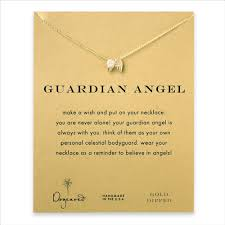 guardian reminder necklace with gold dipped wings