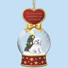 bichon frise snow globe ornaments the danbury mint