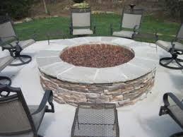 large gas fire pit on concrete patio weddington nc outdoor rooms
