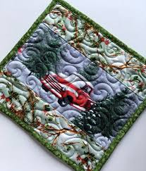 Christmas Rug Christmas Mug Rug Red Truck Small Quilt Large Coaster Mug