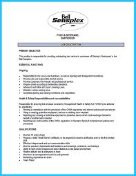 Bar Resume Sample Bartending Resume Example