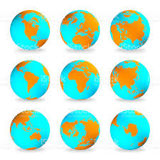 World Continents And Oceans Map by World Globes Earth Lands Brown Continents Blue Oceans Stock Photo