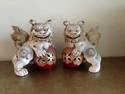 kutani shishi pair of vintage japanese kutani satsuma temple dog statues