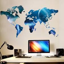 Living Bedroom Wall Art Mural Decor Sticker Blue Planet World Map