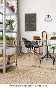 room communal table chairs industrial regale stock photo 530972713