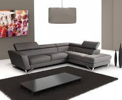dark grey full leather modern sectional sofa w steel legs