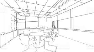 outline sketch of a interior office stock vector art 508514253
