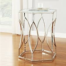 silver side table uk modern art deco hexagon style chrome silver metal accent stool side
