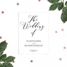 flat wedding programs rustic wedding program printable wedding program diy flat wedding