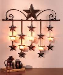 Country Candle Wall Sconces Rustic Metal Star Candle Wall Sconce Glass Tea Light Holder