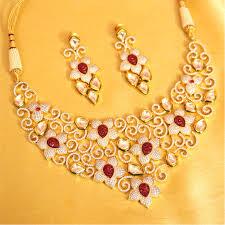 real diamond necklace images Buy real diamond look ad kundan ruby necklace set sanvi jewels jpg