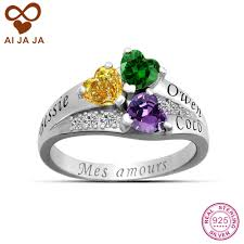 birthstone rings aijaja 925 sterling silver family names birthstones rings