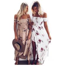 boho fashion chic style dress women shoulder summer dress floral