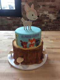 baby shower party cake with woodland animals u2014 trefzger u0027s bakery