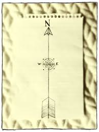 rough sketch of an arrow compass concept tattoo pointing north