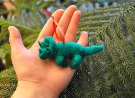 dinosaur needle felted wool ornaments triceratops and t rex