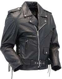 Premium Classic Side Lace Leather Motorcycle Jacket M15l