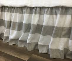 grey and white striped linen bed skirt gathered ruffle