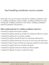 sample resume for marriage top8weddingcoordinatorresumesamples 150406201202 conversion gate01 thumbnail 4 jpg cb 1428369167
