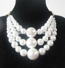 coloured bead necklace images Free shipping new style by487 gold colour chains white imitation jpg