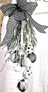 christmas black and white ornament swag white ornaments