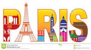 paris city eiffel tower silhouette text color vect stock vector