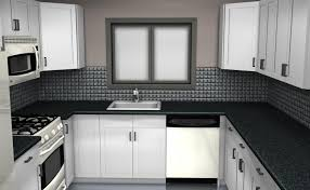 backsplash tile for white kitchen black backsplash tile blue highlighted modern big glass windows