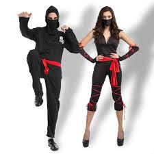 halloween masked black ninja costumes couple clothes