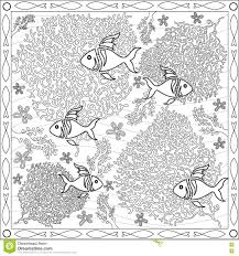 coloring page book for adults square format coral fish underwater