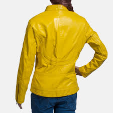 womens leather motorcycle jacket womens mystic yellow leather biker jacket