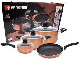 bergners bridal registry bergner 7 pc cookware set marble coating induction cooking