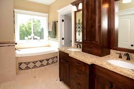 Master Bathroom Shower Ideas Varnished Wooden Vanity Blue Red White Dark Blue Bathroom Designs