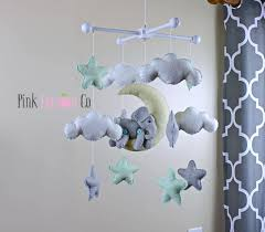 Pink Elephant Nursery Decor by Baby Mobile Elephant Baby Mobile Mint Crib Baby Mobile