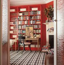 office modern home office with library ideas and red painted