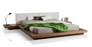 Low Profile Platform Bed Frame Modrest Opal Modern Low Profile Walnut Platform Bed