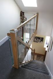 Landing Banister Glass On Bracket Staircases The Stair Glass Company Wirral